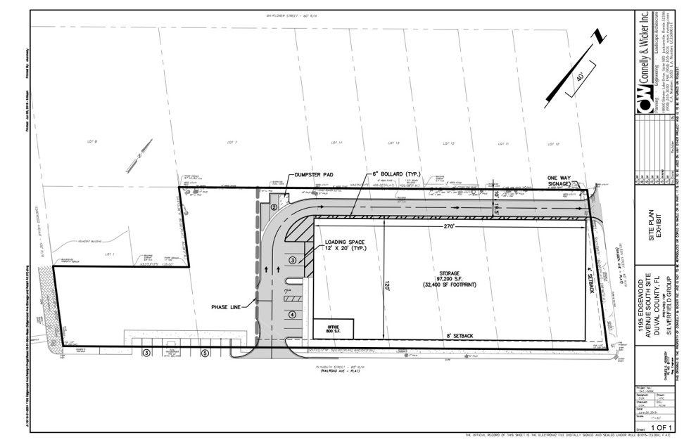 Revised site plan submitted June 20th for the proposed multistory self-storage building on Plymouth Street in Murray Hill